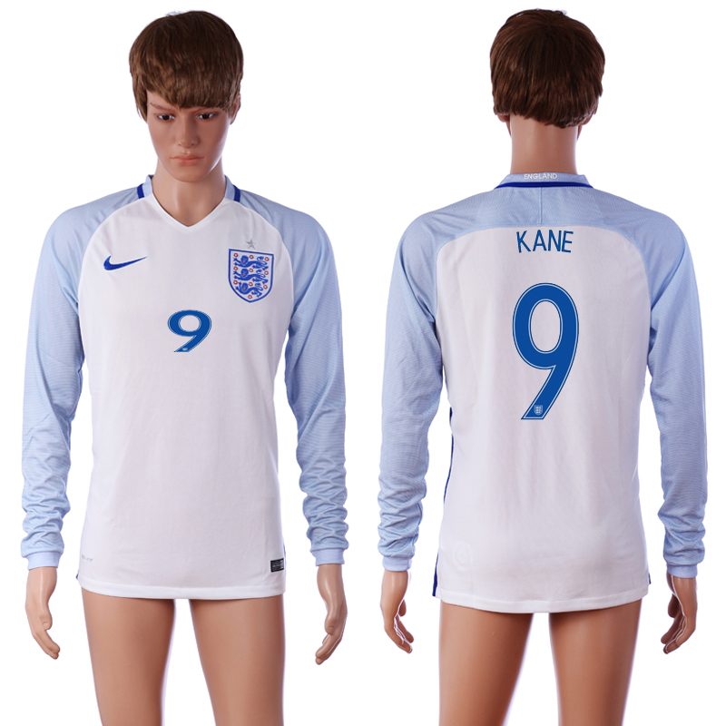 European Cup 2016 England 9 KANE Home White long sleeve AAA+ Soccer Jersey