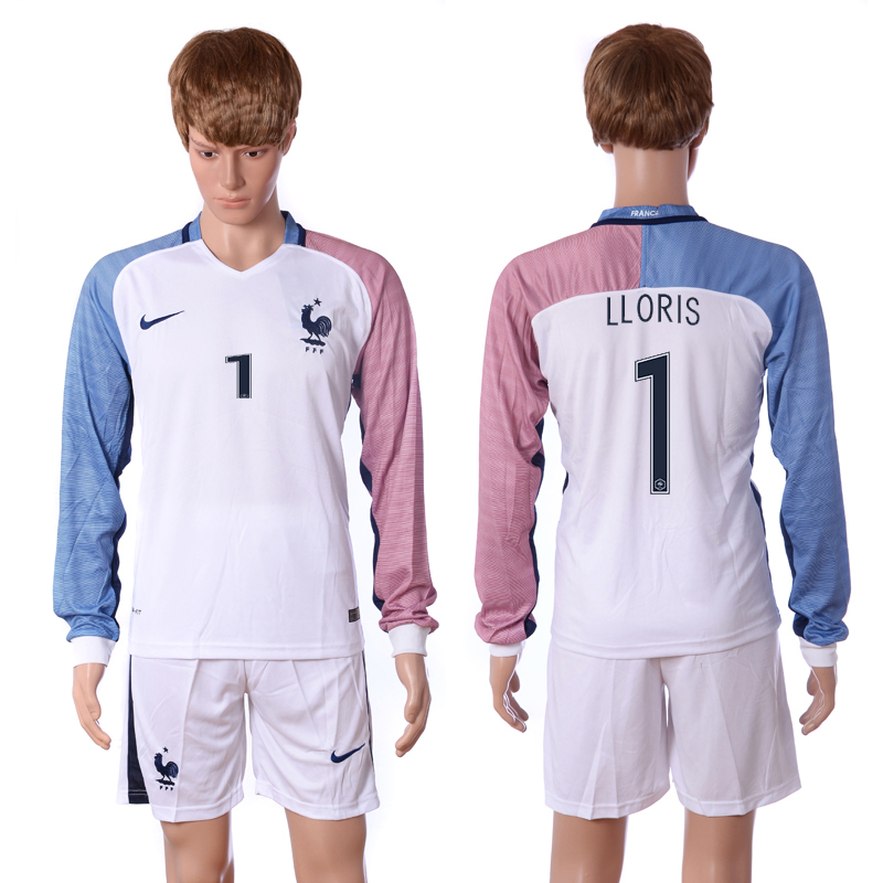 European Cup 2016 France away long sleeve 1 Lloris white soccer jerseys