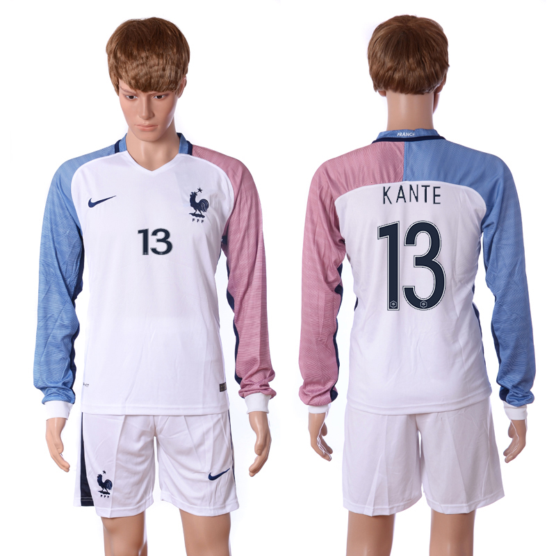 European Cup 2016 France away long sleeve 13 Kante white soccer jerseys