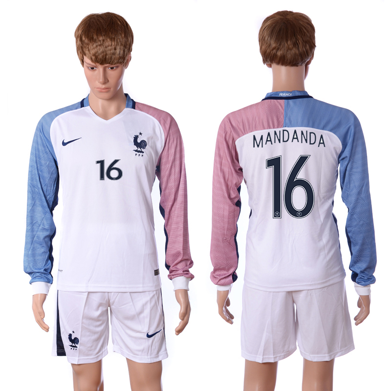 European Cup 2016 France away long sleeve 16 Mandanda white soccer jerseys