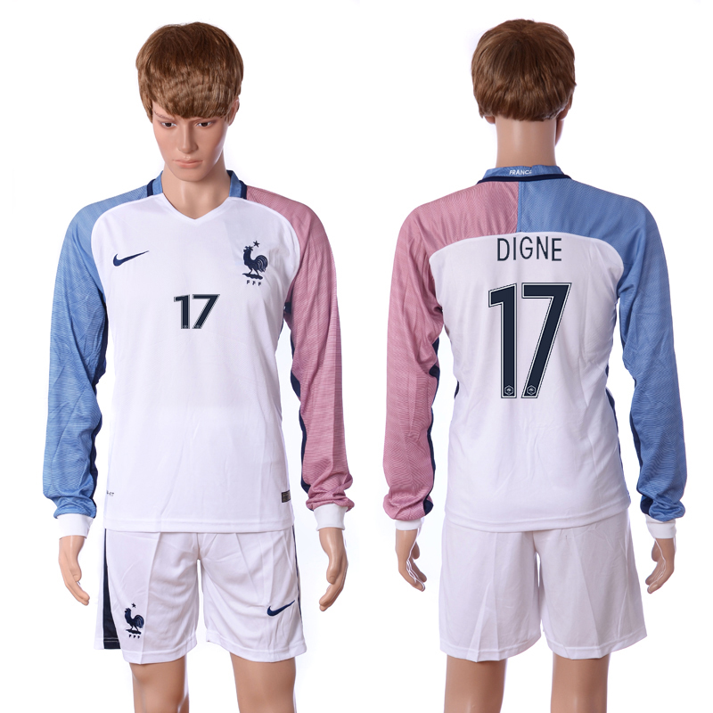 European Cup 2016 France away long sleeve 17 Digne white soccer jerseys