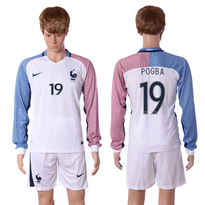 European Cup 2016 France away long sleeve 19 Pogba white soccer jerseys
