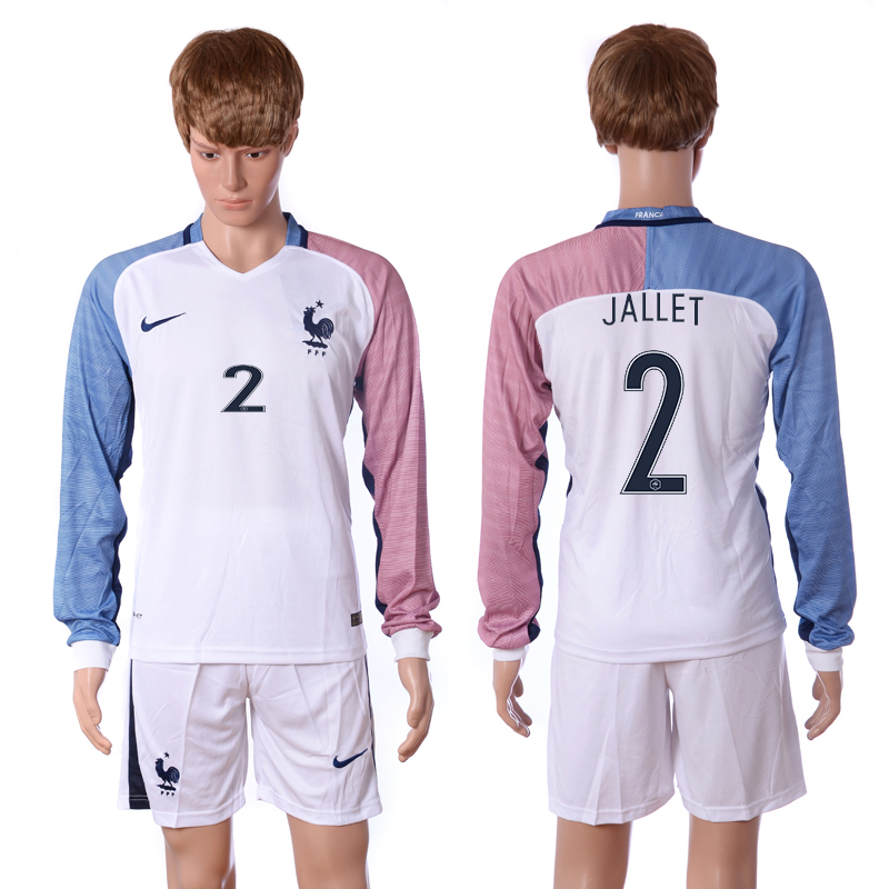 European Cup 2016 France away long sleeve 2 Jallet white soccer jerseys