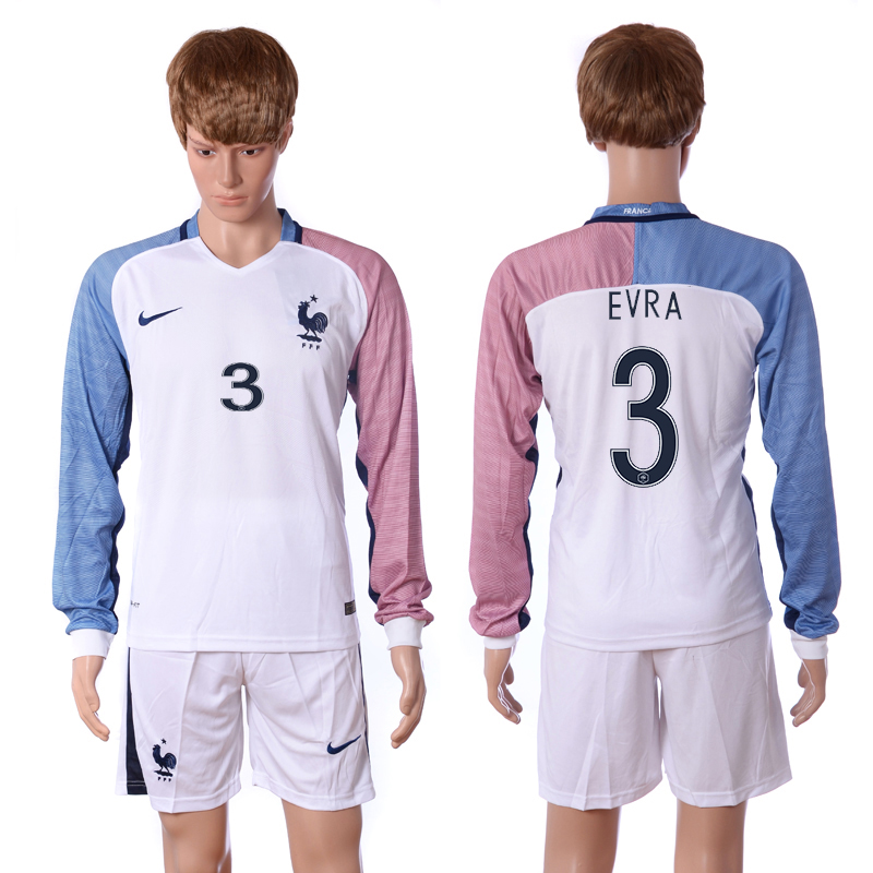 European Cup 2016 France away long sleeve 3 Evra white soccer jerseys