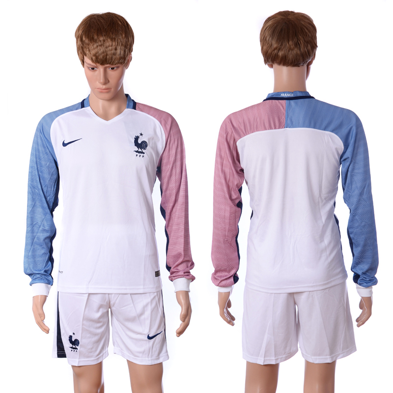 European Cup 2016 France away long sleeve blank white soccer jerseys