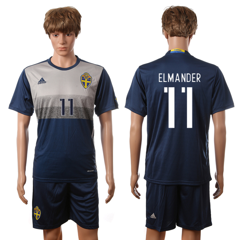 European Cup 2016 Sweden away 11 Elmander blue soccer jerseys