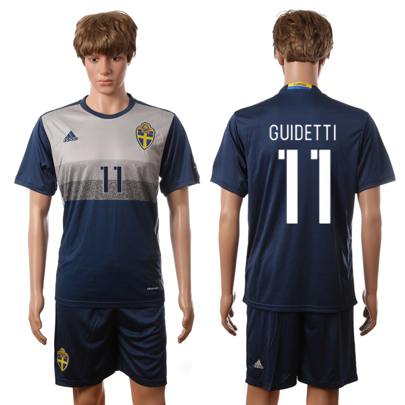 European Cup 2016 Sweden away 11 Guidetti blue soccer jerseys