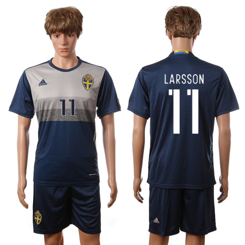 European Cup 2016 Sweden away 11 Larsson blue soccer jerseys