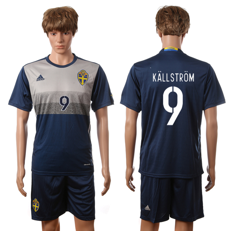 European Cup 2016 Sweden away 9 Kallstrom blue soccer jerseys