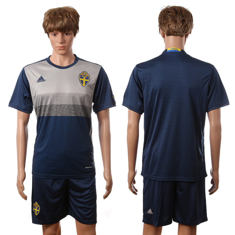 European Cup 2016 Sweden away blank blue soccer jerseys