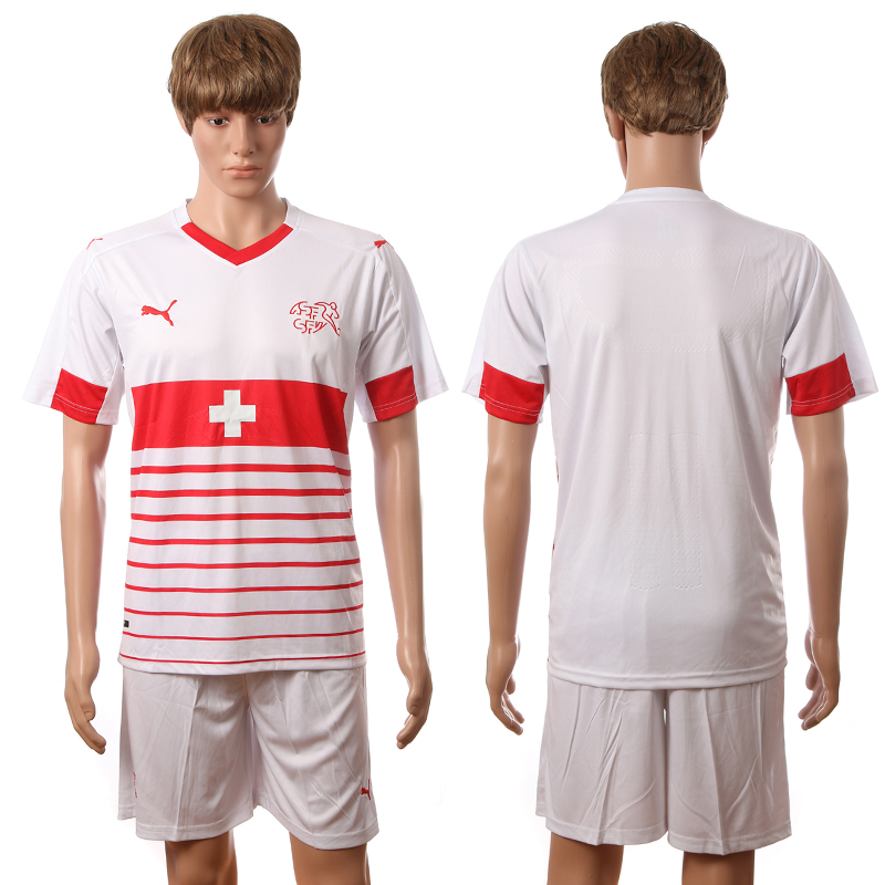 European Cup 2016 Switzerland away blank white soccer jerseys