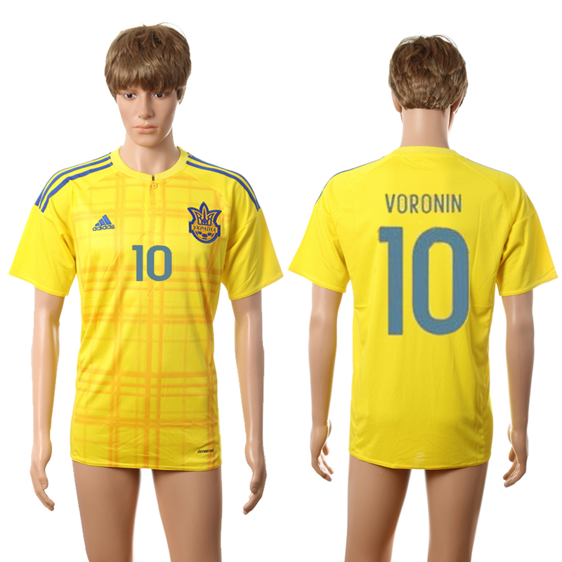European Cup 2016 Ukraine home AAA+ 10 Voronin yellow soccer jerseys
