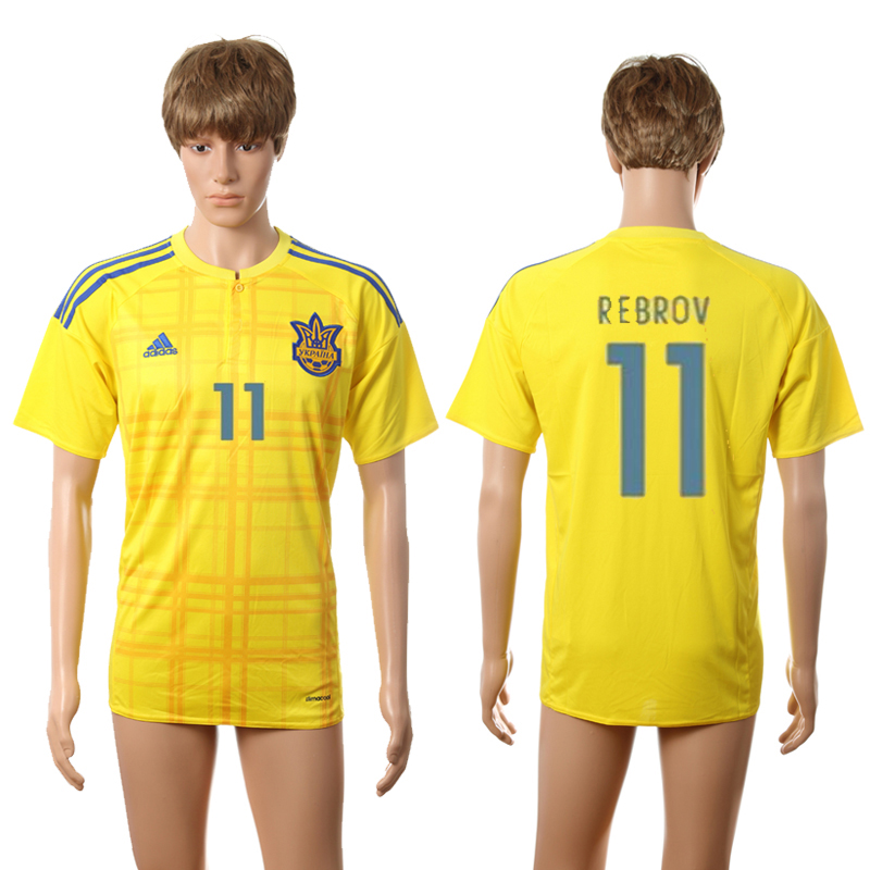 European Cup 2016 Ukraine home AAA+ 11 Rebrov yellow soccer jerseys