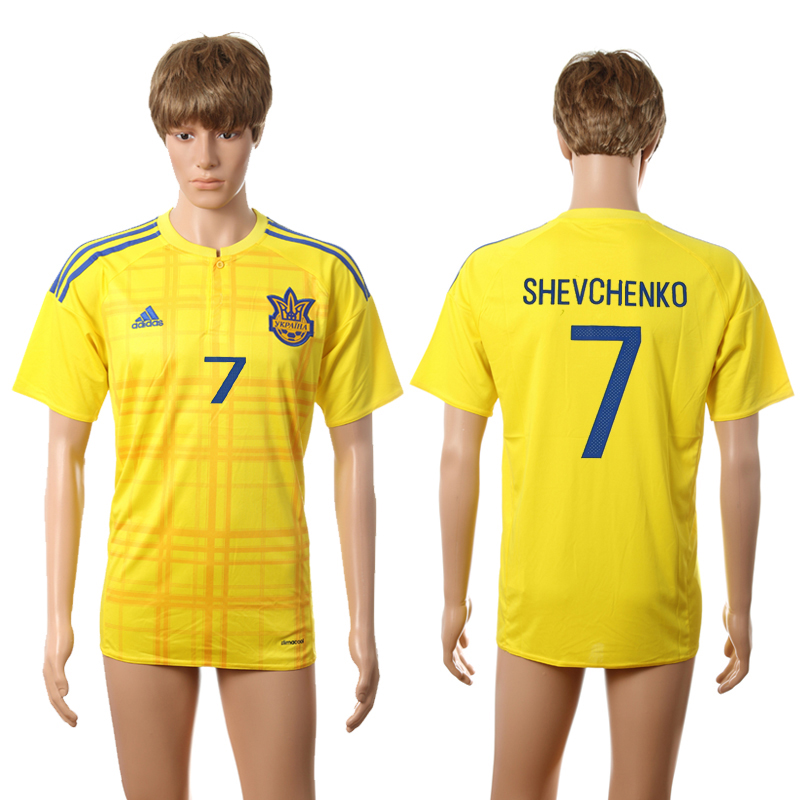 European Cup 2016 Ukraine home AAA+ 7 Shevchenko yellow soccer jerseys