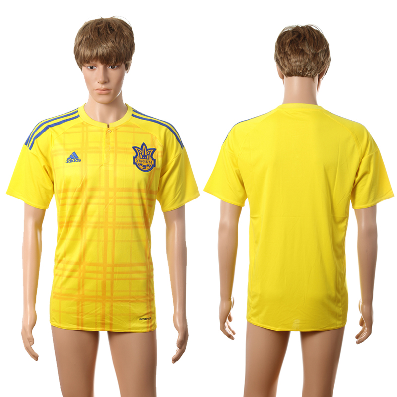 European Cup 2016 Ukraine home blank yellow AAA+ soccer jerseys