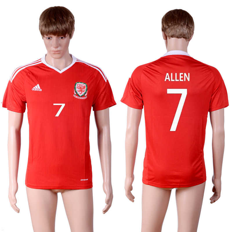 European Cup 2016 Welsh home 7 Red AAA+ Soccer Jersey