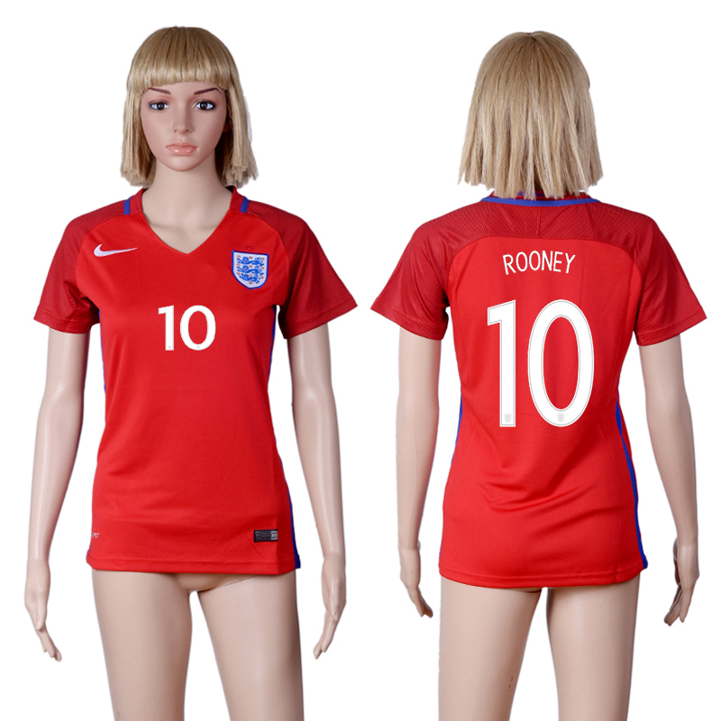 Womens 2016 Euro Cup England 10 ROONEY Away Red Soccer Jersey