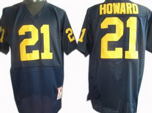 NCAA Michigan Wolverines 21 HOWARD Football Jerseys Blue