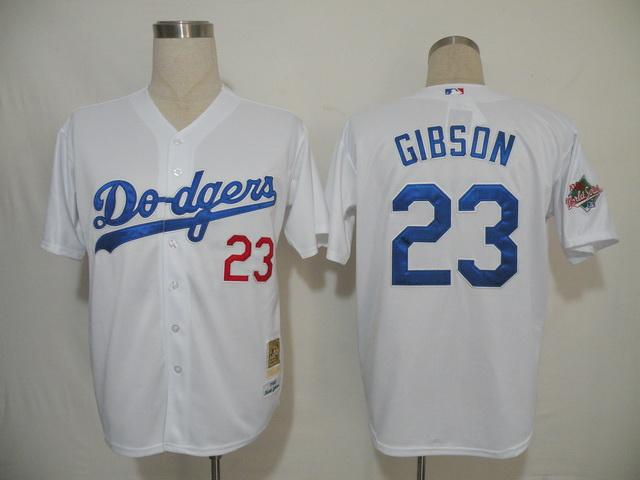 MLB Jersey Los Angeles Dodgers 23 Gibson White
