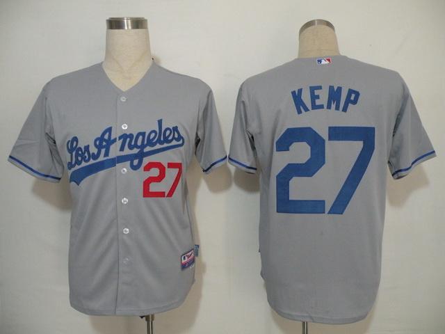 MLB Jersey Los Angeles Dodgers 27 Kemp Grey