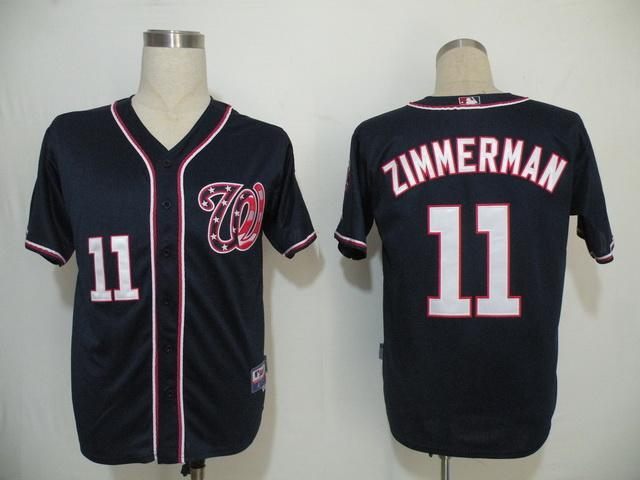 MLB Jerseys Washington Nationals 11 Zimmerman Dark Blue