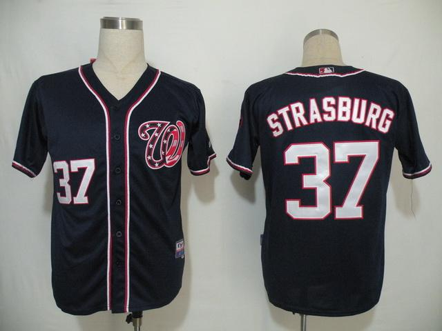 MLB Jerseys Washington Nationals 37 Strasburg Dark Blue