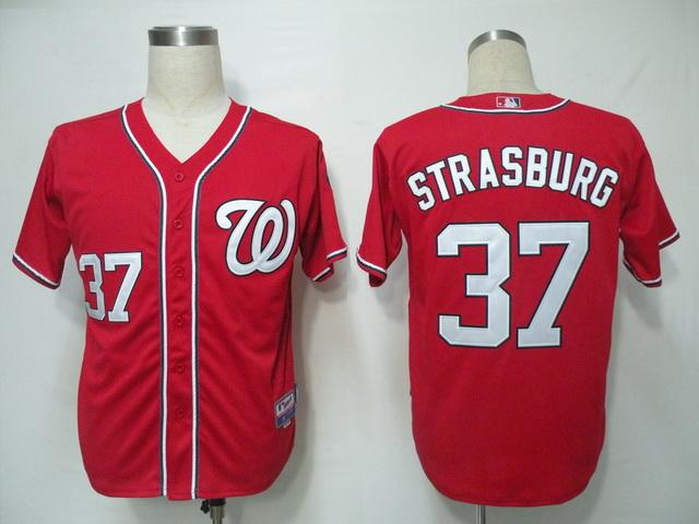 MLB Jerseys Washington Nationals 37 Strasburg Red 2011 Cool Base
