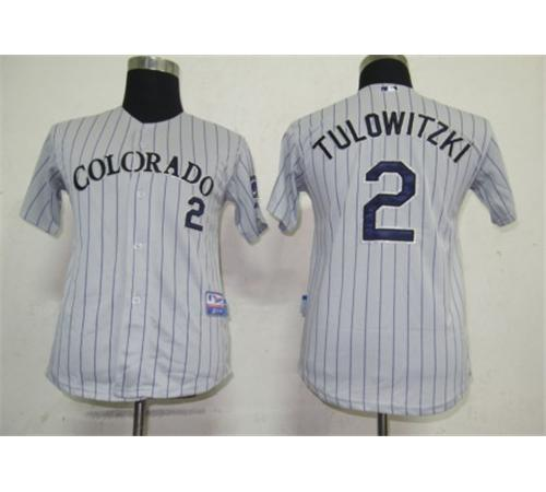 MLB Jerseys Colorado Rockies 2 Tulowitzki Grey Kids