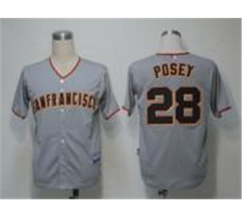 MLB Jerseys San Francisco Giants 28 Posey Grey Cool Base