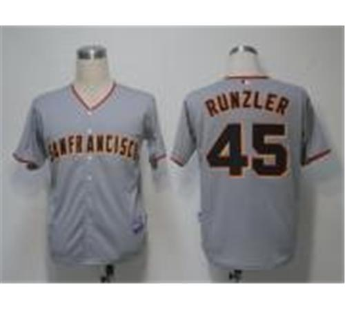 MLB Jerseys San Francisco Giants 45 Runzler Grey Cool Base