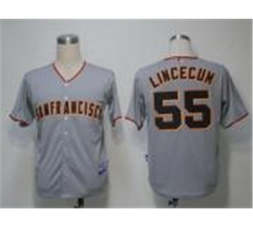 MLB Jerseys San Francisco Giants 55 Lincecum Grey Cool Base