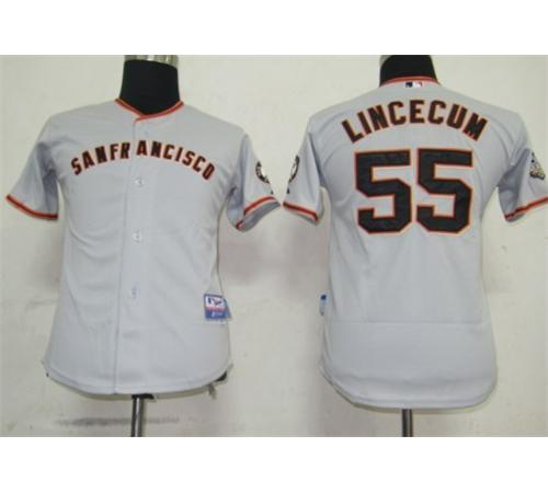 MLB Jerseys San Francisco Giants 55 lincecum Grey Kids