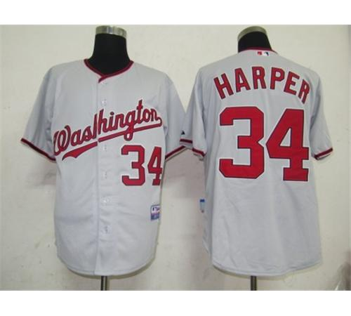 MLB Jerseys Washington Nationals 34 Harper Grey