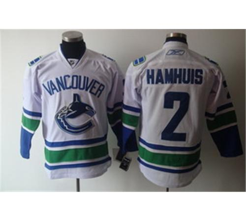 Vancouver Canucks 2 Dan Hamhuis White Jerseys