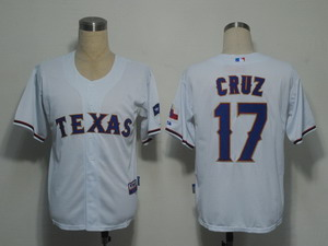 MLB Jerseys Texas Rangers 17 cruz White Cool Base