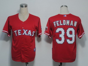 MLB Jerseys Texas Rangers 39 Feldman Red Cool Base