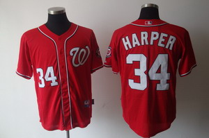 Washington Nationals 34 Bryce Harper Red Jerseys