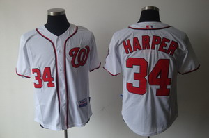 Washington Nationals 34 Bryce Harper White Jerseys