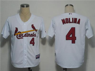 MLB Jerseys St. Louis Cardinals 4 Molina White Cool Base