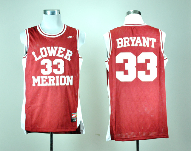 Nike Lower Merion High School Kobe Bryant 33 Red Basketball Throwback Jersey