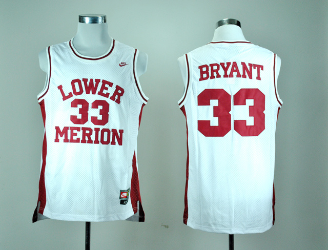 Nike Lower Merion High School Kobe Bryant 33 White Basketball Throwback Jersey