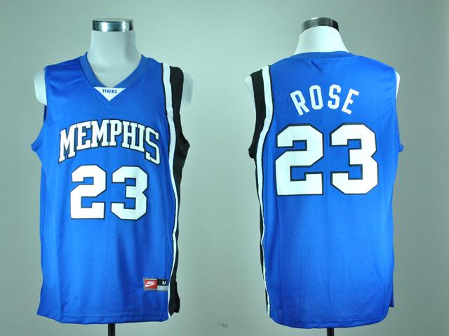 Nike Memphis Tigers Derrick Rose 23 Blue College Basketball Throwback Jersey