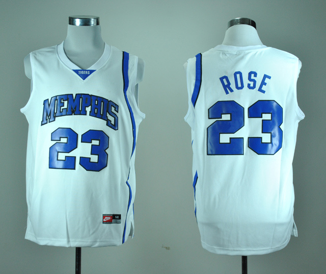 Nike Memphis Tigers Derrick Rose 23 White College Basketball Throwback Jersey