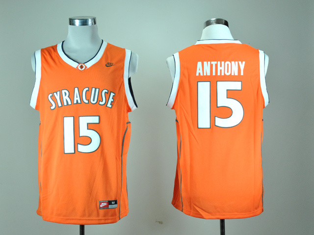 Nike Indiana State Syracuse Orange Camerlo Anthony 15 Orange Basketball Throwback Jersey