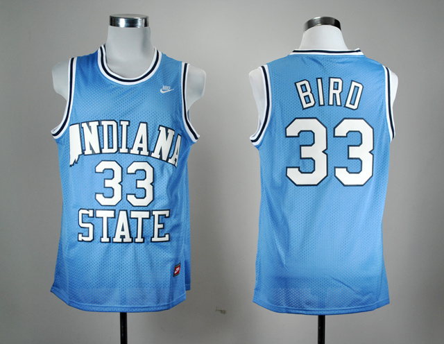 Nike Indiana State Sycamores Larry Bird 33 Blue College Basketball Hardwood Legends Jersey