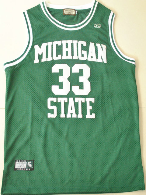 HC Michigan State Magic Johnson 33 Green College Hardwood Legends Basketball Jersey