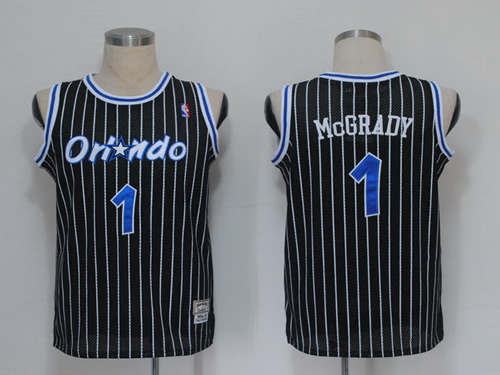 NBA Jerseys Orlando Magic 1 Mcgrady Black(pinstripes)
