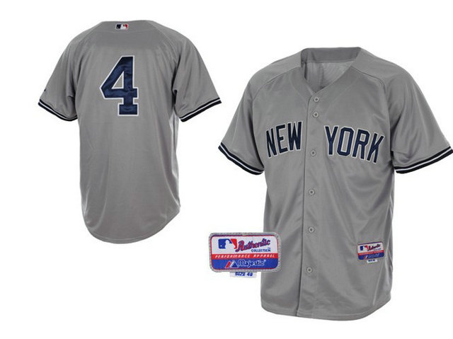 MLB New York Yankees 4 Lou Gehrig Grey
