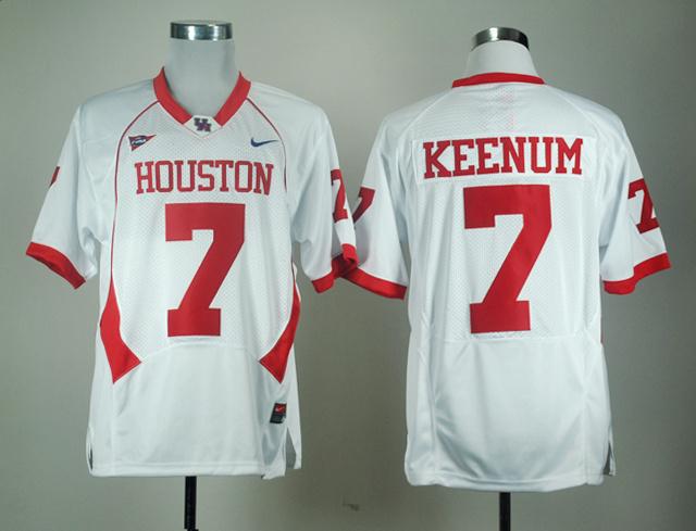 NCAA Houston Cougars 7 KEENUM white jerseys