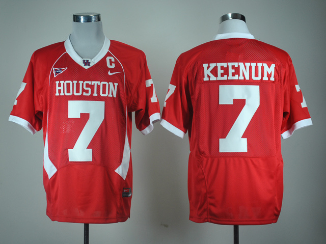 NCAA Houston Cougars Case Keenum 7 Red C-USA Patch Colleg